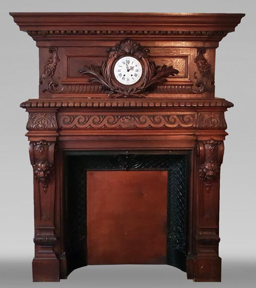 Antique Neo-Renaissance style oak mantel, pediment with a clock-0