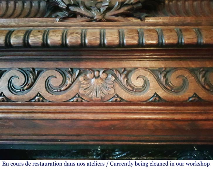 Antique Neo-Renaissance style oak mantel, pediment with a clock-1