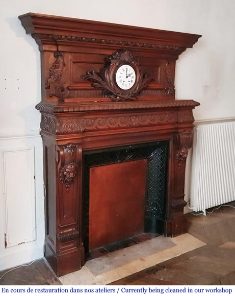 Antique Neo-Renaissance style oak mantel, pediment with a clock-4