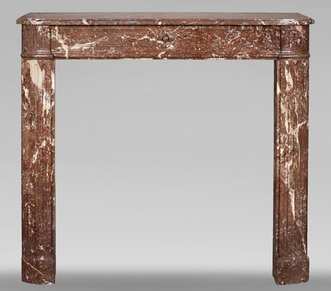 Antique Louis XVI period fireplace in Rouge du Nord marble-0