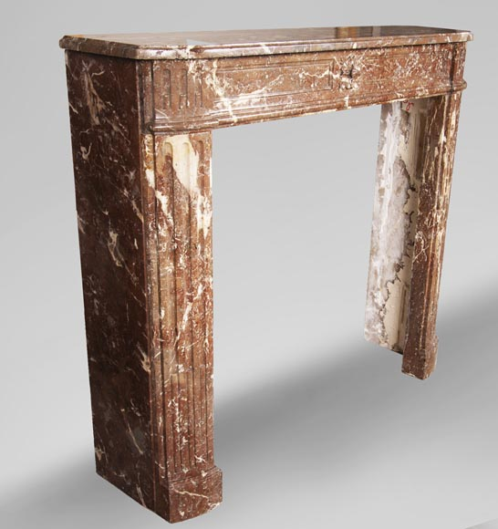 Antique Louis XVI period fireplace in Rouge du Nord marble-2