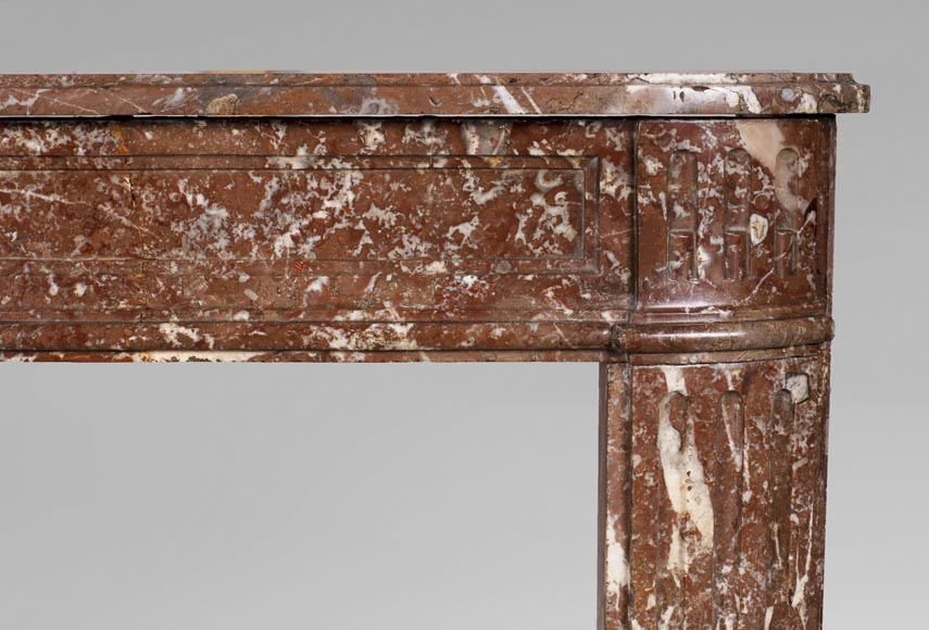 Antique Louis XVI period fireplace in Rouge du Nord marble-6