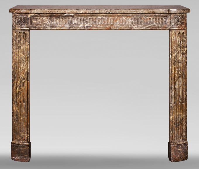 Louis XVI period mantel with rudentures in Rouge Royal marble -0