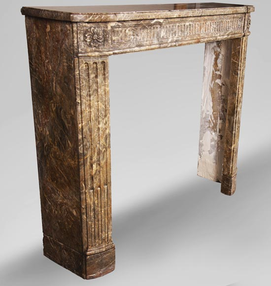 Louis XVI period mantel with rudentures in Rouge Royal marble -2