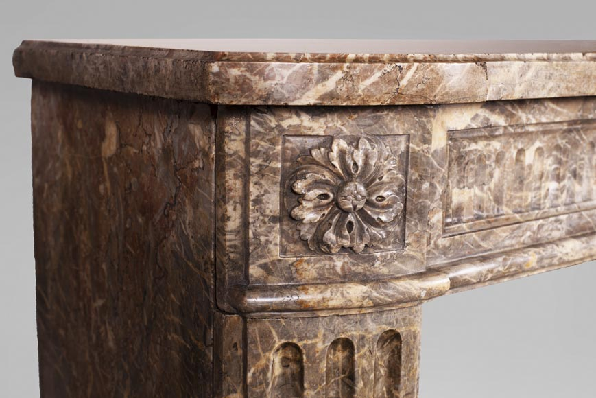 Louis XVI period mantel with rudentures in Rouge Royal marble -3