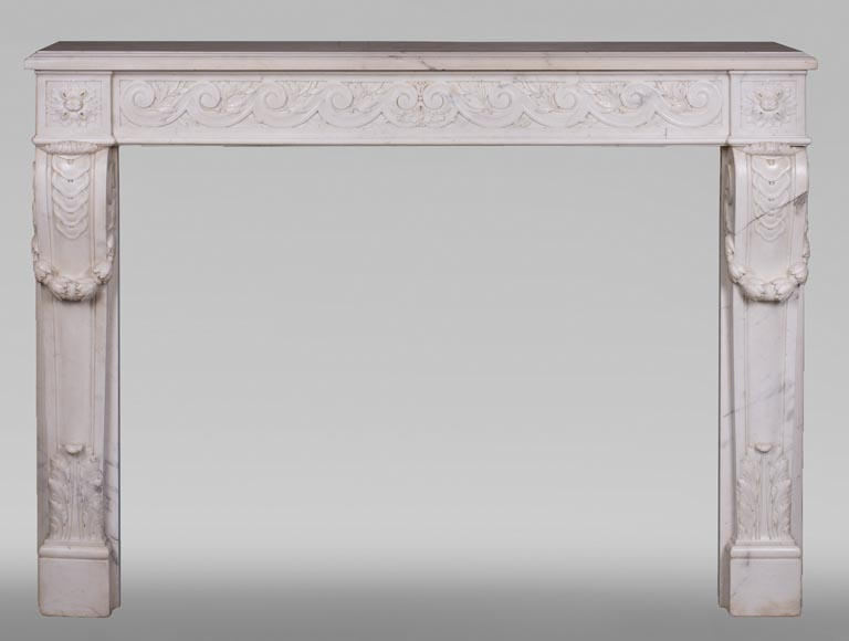 Antique Louis XVI style fireplace in statuary marble with a beautiful vitruvian frieze-0