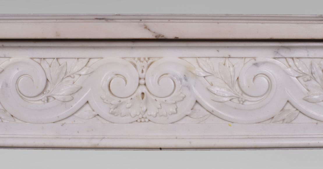 Antique Louis XVI style fireplace in statuary marble with a beautiful vitruvian frieze-1