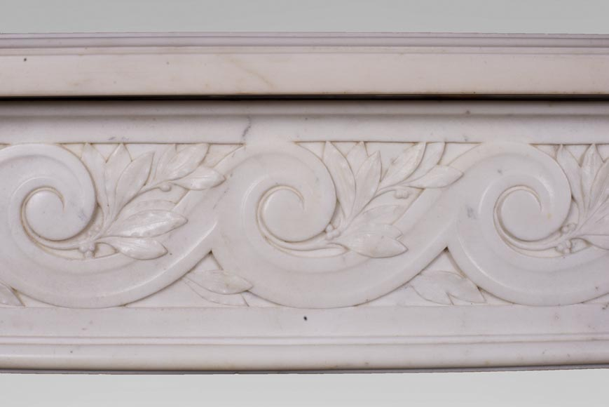 Antique Louis XVI style fireplace in statuary marble with a beautiful vitruvian frieze-2