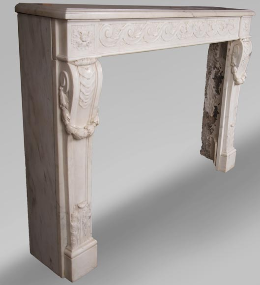 Antique Louis XVI style fireplace in statuary marble with a beautiful vitruvian frieze-3