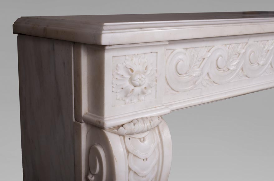 Antique Louis XVI style fireplace in statuary marble with a beautiful vitruvian frieze-4