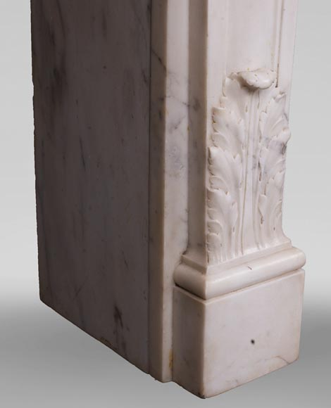 Antique Louis XVI style fireplace in statuary marble with a beautiful vitruvian frieze-6