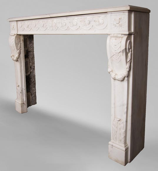 Antique Louis XVI style fireplace in statuary marble with a beautiful vitruvian frieze-7