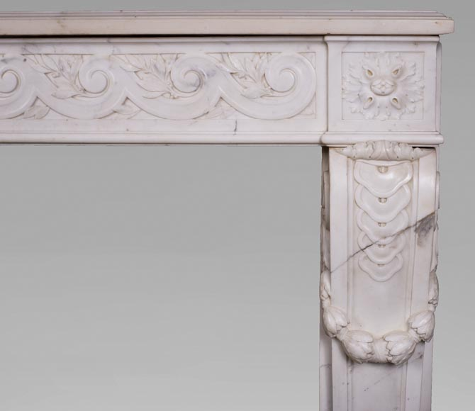 Antique Louis XVI style fireplace in statuary marble with a beautiful vitruvian frieze-8