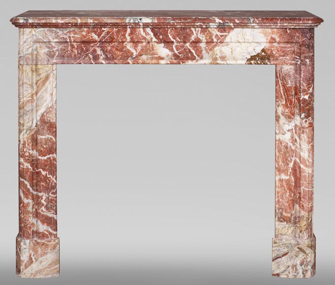 Antique Louis XIV style red Bolection marble fireplace-0