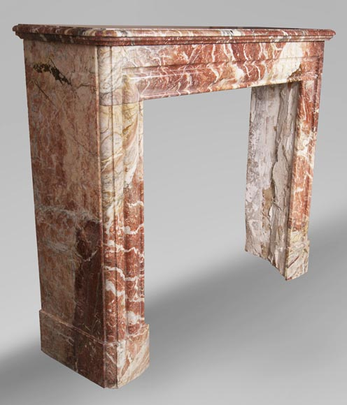 Antique Louis XIV style red Bolection marble fireplace-2