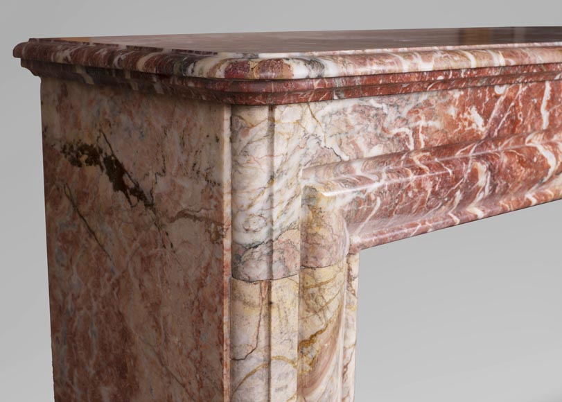 Antique Louis XIV style red Bolection marble fireplace-3