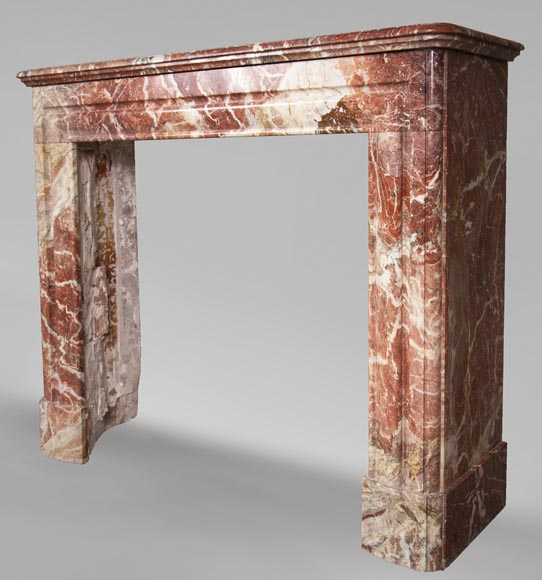 Antique Louis XIV style red Bolection marble fireplace-5