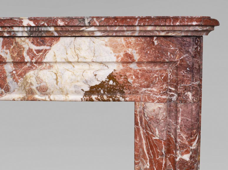 Antique Louis XIV style red Bolection marble fireplace-6