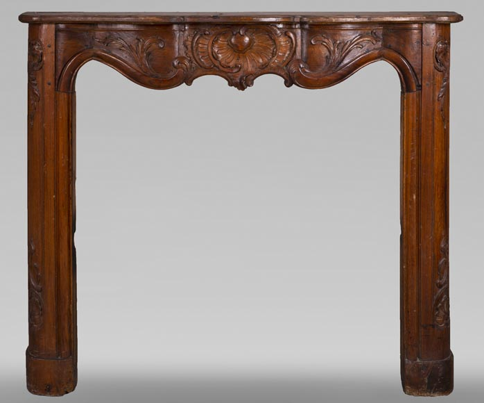 18th century carved walnut fireplace with large shell-0