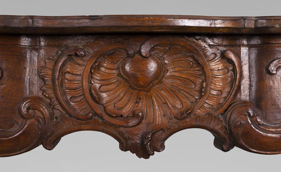 18th century carved walnut fireplace with large shell-1