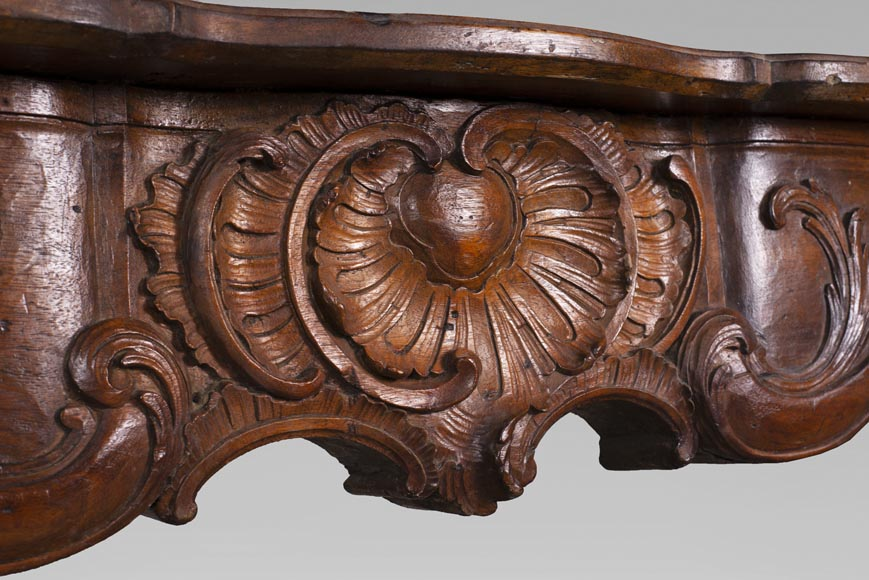 18th century carved walnut fireplace with large shell-2