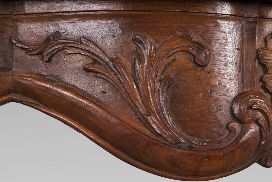 18th century carved walnut fireplace with large shell-3