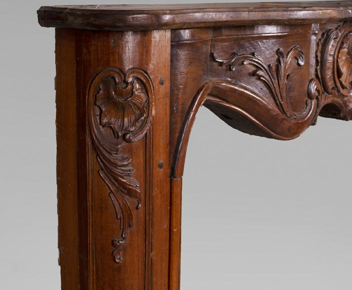 18th century carved walnut fireplace with large shell-5
