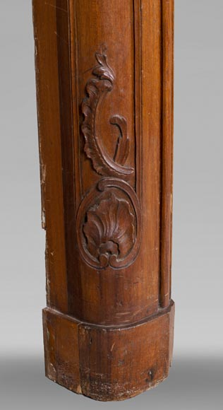 18th century carved walnut fireplace with large shell-6