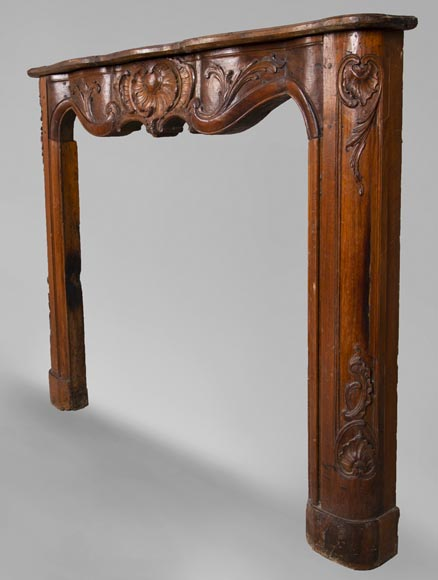 18th century carved walnut fireplace with large shell-7