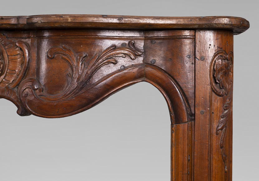 18th century carved walnut fireplace with large shell-8