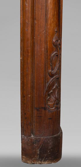 18th century carved walnut fireplace with large shell-9