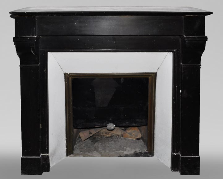 Antique Napoleon III style fireplace in black marble-0