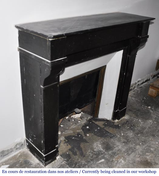 Antique Napoleon III style fireplace in black marble-2