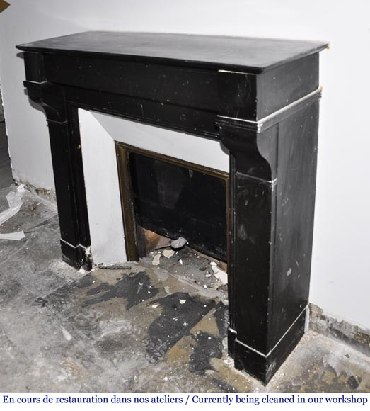 Antique Napoleon III style fireplace in black marble-4