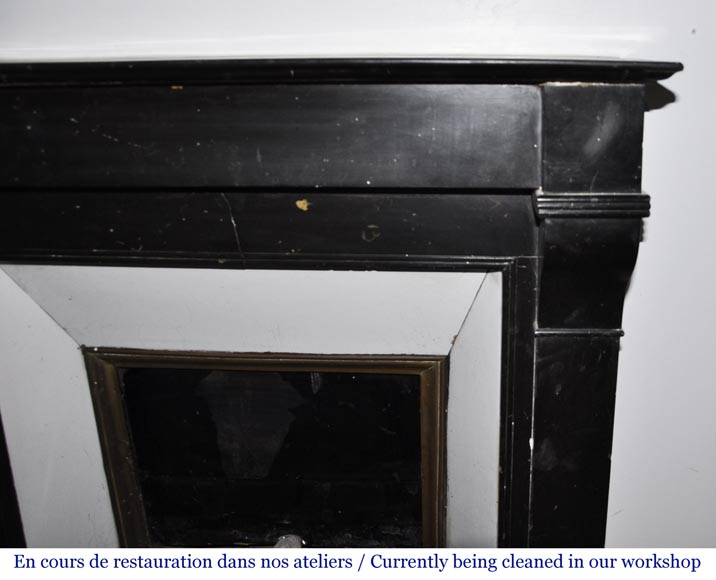 Antique Napoleon III style fireplace in black marble-5