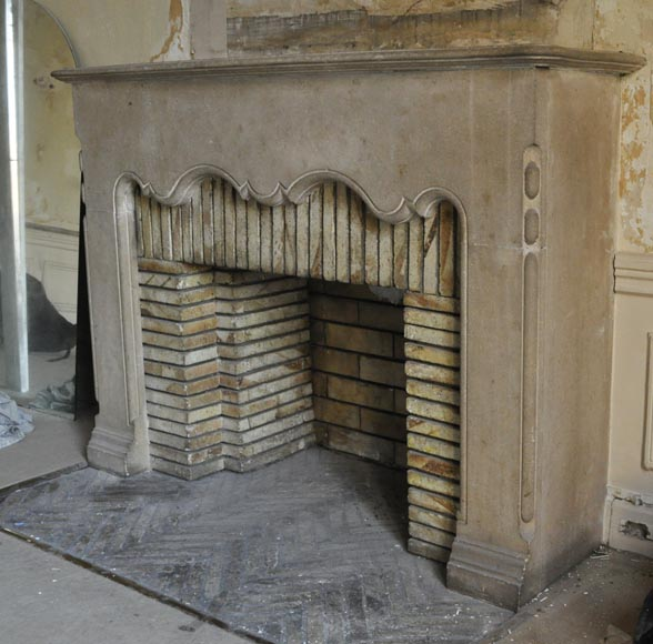Rare antique 1920's stone fireplace-5
