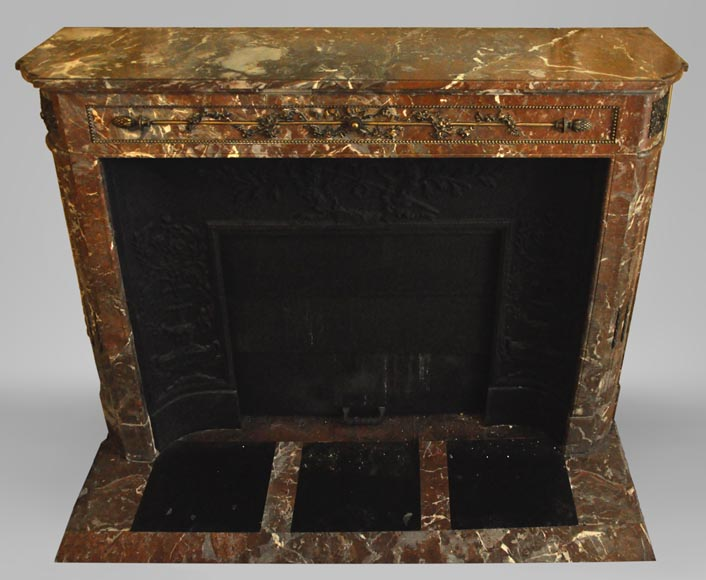 Antique Louis XVI style fireplace with round corners in Red from the North marble and gilded bronze ornaments-0