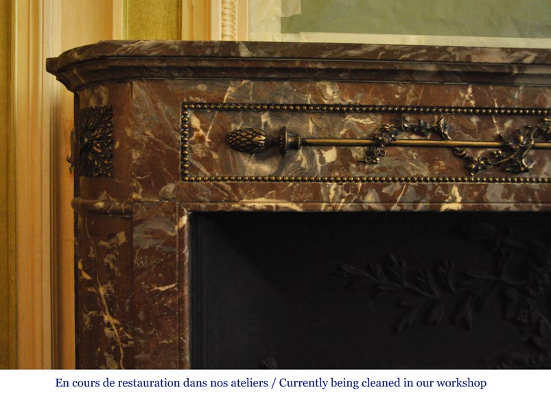 Antique Louis XVI style fireplace with round corners in Red from the North marble and gilded bronze ornaments-4