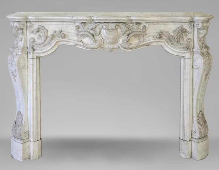 Exceptional opulent Louis XV style fireplace, very carved, in white Carrara marble-0