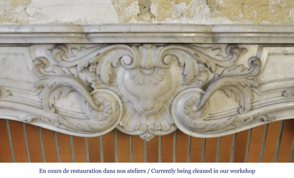 Exceptional opulent Louis XV style fireplace, very carved, in white Carrara marble-1