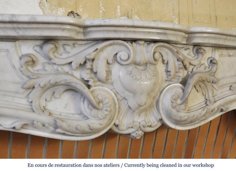 Exceptional opulent Louis XV style fireplace, very carved, in white Carrara marble-2