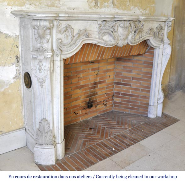 Exceptional opulent Louis XV style fireplace, very carved, in white Carrara marble-5