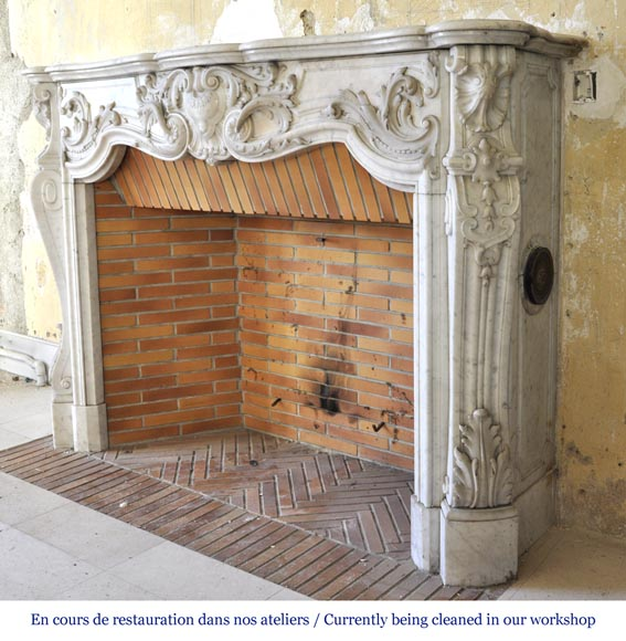 Exceptional opulent Louis XV style fireplace, very carved, in white Carrara marble-10
