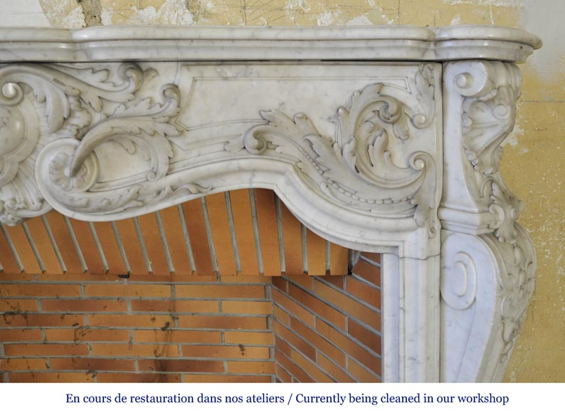 Exceptional opulent Louis XV style fireplace, very carved, in white Carrara marble-11