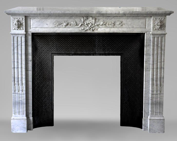 Antique Louis XVI style fireplace in white Carrara marble with laurel branches decor-0
