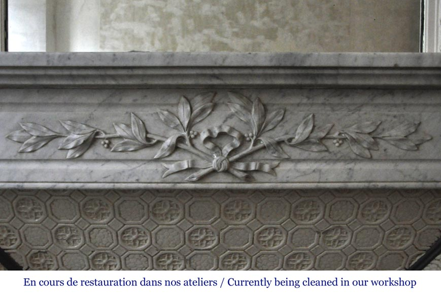 Antique Louis XVI style fireplace in white Carrara marble with laurel branches decor-1
