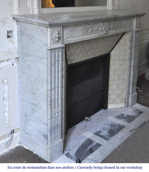 Antique Louis XVI style fireplace in white Carrara marble with laurel branches decor-3