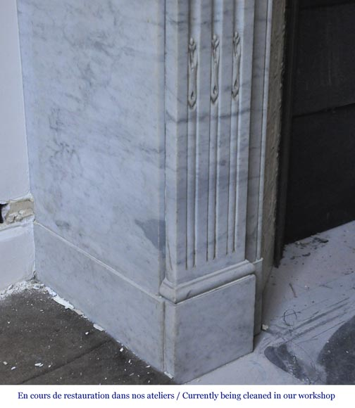 Antique Louis XVI style fireplace in white Carrara marble with laurel branches decor-5