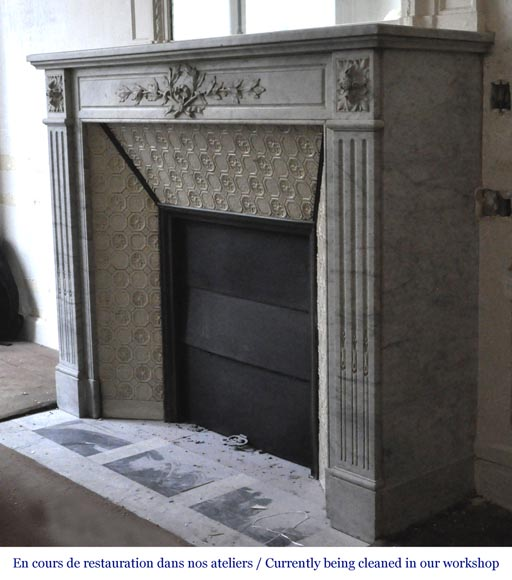 Antique Louis XVI style fireplace in white Carrara marble with laurel branches decor-6