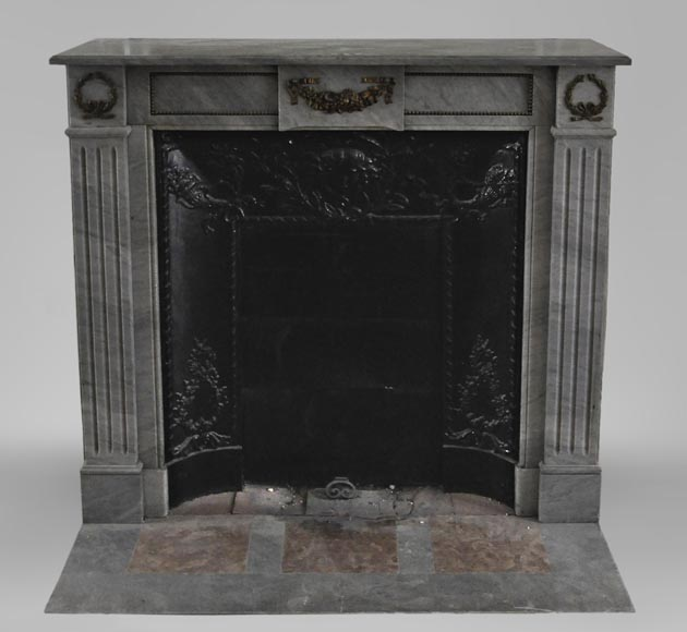Small antique Louis XVI style fireplace in Blue Turquin marble and gilded bronze ornaments-0